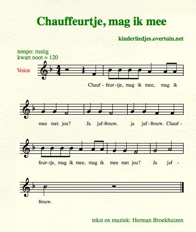 sheet music dutch children's songs songtext driver lady chauffeur