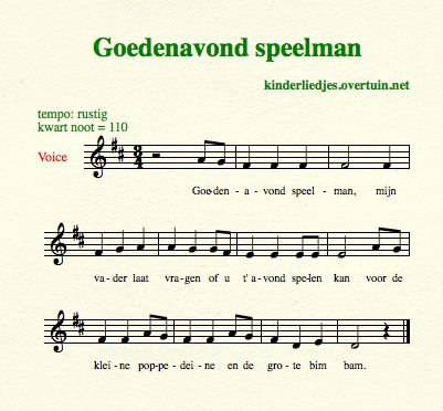 sheet music dutch children's songs translated in english fiddler playing speelman