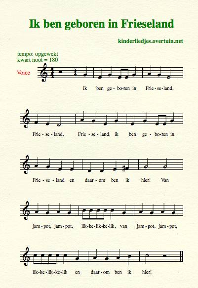 sheet music dutch children's songs translated in english born friesland
