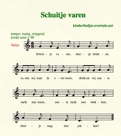 sheet music dutch children's songs translated in english sail boat tea varen thee