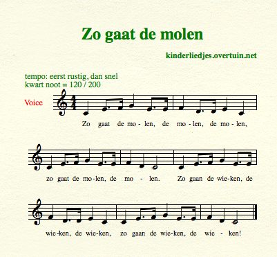 sheet music dutch children's songs translated in english windmill molen